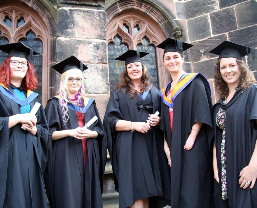 FdSc Equine Science and Management graduates Rebecca Webb, Rebecca Wilkinson, Amy Cunningham, Dame Sarah Storey DBE and Kate Douglas-Dala (lecturer)