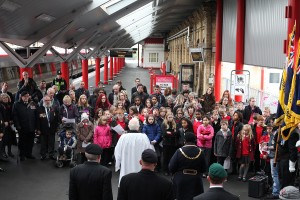 students join Remembrance Day service at Crewe station