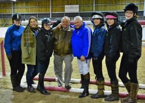 Arena party Steph Hamilton, Becky Erskine, Sonia Laughton, Amelia Kenyon, Hannah Luke and Emily Cockerill join Bob Ellis and Geoff Billington