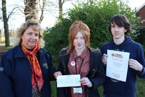 Level 2 animal care group b students l-r Penny Rudd Chester Zoo students ashleigh goldstraw and robbie kelly