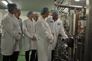 Senior Dairy Technologist Derek Allen demonstrates yoghurt manufacture on Reaseheath's flexible process plant to Tesco's technical and development team