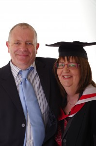 Lorraine Newton on her MA graduation day with husband Graham Newton,  14th March 2014.