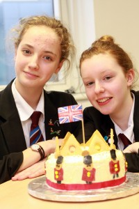 Stockport School's Megan Glover and Louise Brown with their coconut crown