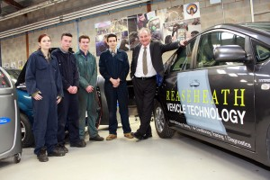 IMIAL Level 3 Light Vehicle Maintenance and Repair students Debra Bligh-Wall, Corey Walton, Will Blackshaw and Cody Brookes meet Richard Noble in Reaseheath's automotive workshops