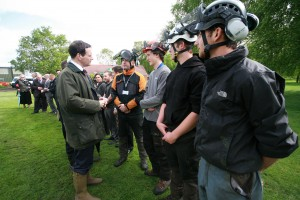 George Osborne chats to arboriculture students.