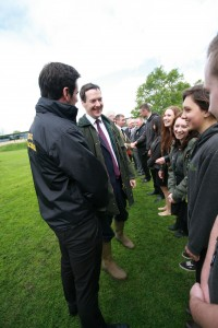 The Chancellor chats to members of the Reaseheath's Student Association.