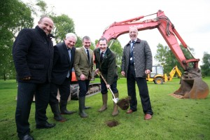 George Osborne cuts the first sod for the National Centre for Food Futures and the Environment, watched by Reaseheath Principal Meredydd David, MP Stephen O'Brien, MEP candidate Kevin Beaty  and Martin Smout, executive chairman of construction partner GB Building Solutions.