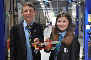 Georgina Hardy and Adam Caunt, both 13, from Brine Leas School with their Kinex car