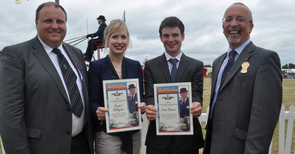 Rachel Billington and Simon Bonner receive their John Platt Travel Scholarships from Keith Thomas and Reaseheath Principal Meredydd David at the Cheshire Show.