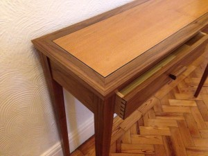 Console table with two drawers - American walnut with lacewood and ebony inlay