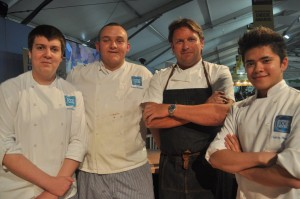 Aaron Dixon, Jordan Slawinski and Cedric Mandaya with celebrity chef James Martin