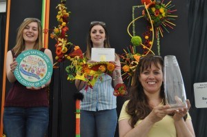 Florists Anna Eite, Zoe Sillito and Wendy Anderson celebrate winning RHS Tatton Park Floristry College of the Year