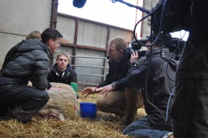 Adam Henson talks to Nick Greaves during Countryfile filming at Reaseheath in 2013
