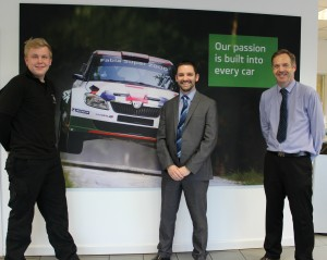 Jack Salt with Robert Eardley Skoda Gen Man Brett Davies and Aftersales Manager Paul Griffiths 4MB