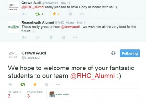 Positive comments on social media from Crewe Audi  about our students