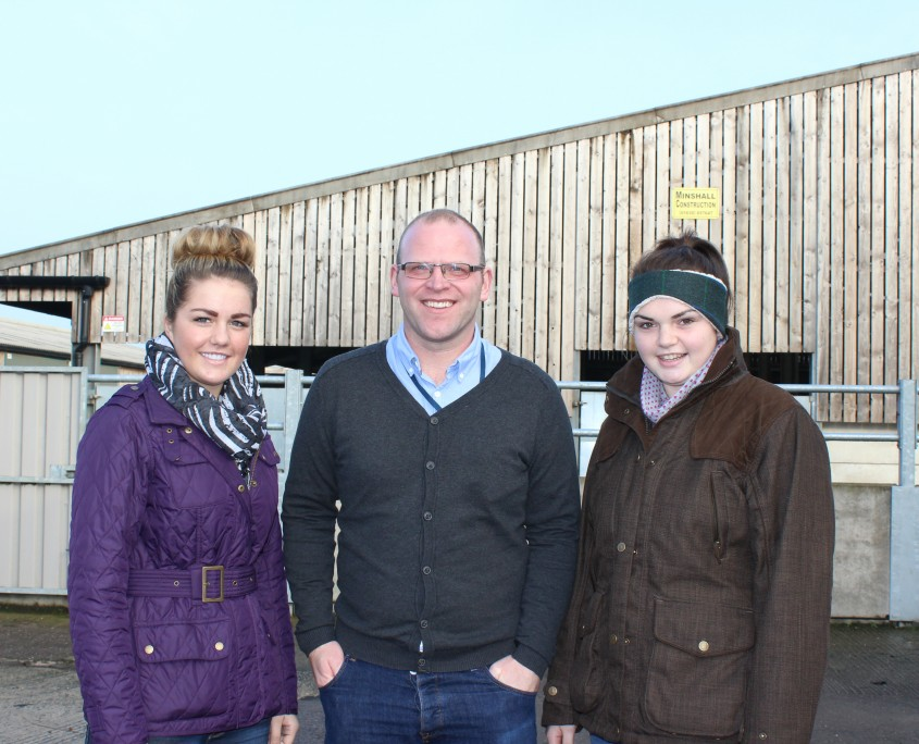 Adrian Dunn with Level 3 Extended Diploma Agric students Megan Baldwin and Becky Worthington 4mb