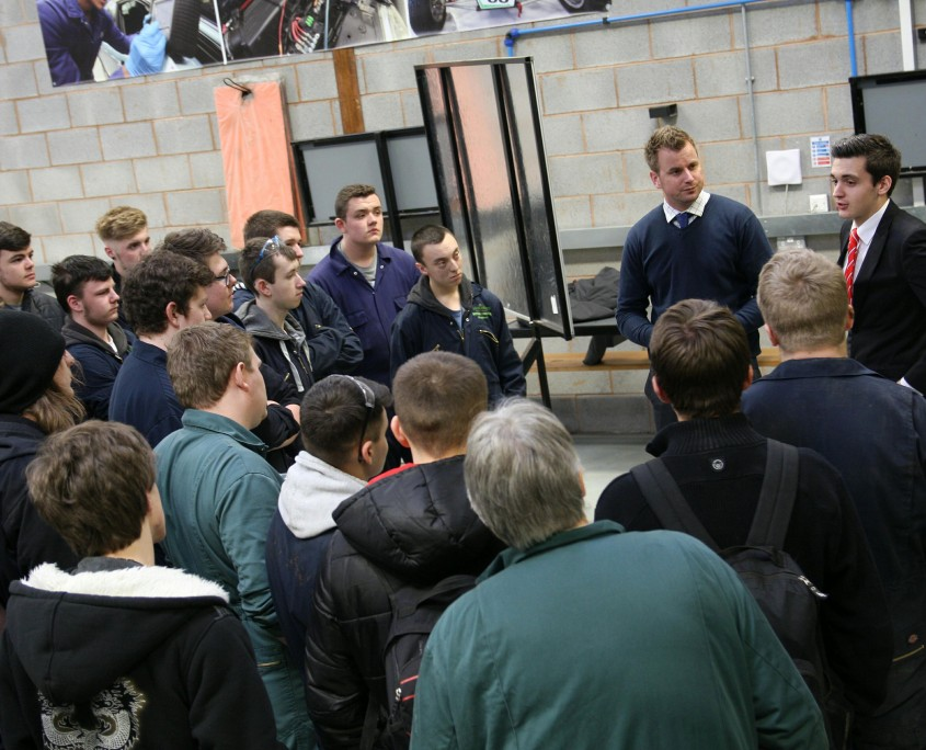 Cody Brookes addresses students in Reaseheath's Motor Vehicle Technology Centre