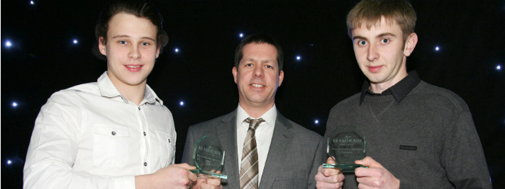 Construction Best Apprentices Tom Spibey and Ben Hardwick with Andy Armitage assessor