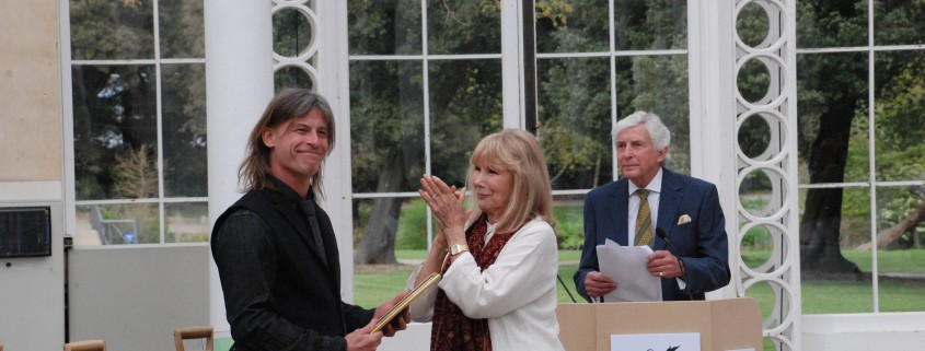 Daniel receives his certificate from actress Susan Hampshire