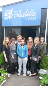 Floristry students and staff during their visit to Bluebells Florist