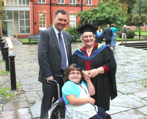 Sam Copeland on her graduation day in 2012, with daughter Elisabeth and her husband
