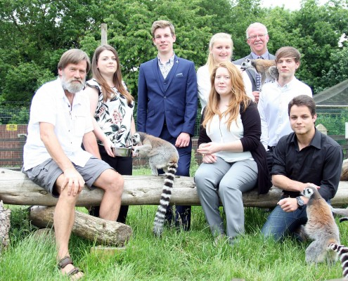 Ian Redmond meets Reaseheath's ring tailed lemurs with Zoo Management and Wildlife Conservation undergraduates Ashleigh Ball, Daniel Collin, Harley Merrigan, Charlotte Daniels, Jack Wootton and James Wylor-Owen and Zoo Keeper Alan Woodward