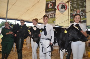 Winning line-up in the cattle marquee: Lecturer Julie Baskerville and agriculture students Jess Pearce, Lydia Diamond, Joe Riley and Siobhan Rutter with Reaseheath Holstein heifers.