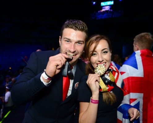 WorldSkills Sao Paulo closing Ceremony Team UK Matt Beesley with Rianne Chester