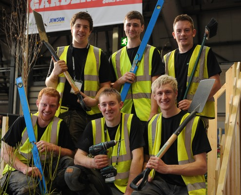 Chris Shore joined by the whole landscape gardening finalists
