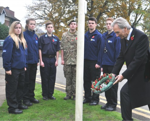 Bill Holroyd, High Sheriff of Cheshire, lays a wreath at Reaseheath College watched by Cheshire Police, Army and Fire cadets Lauren Taylor, Betty Wood, Alex Hardy, Reef Spry, Matt Walker and Oli Taylor