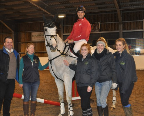 Eventer Paul Tapner and Kilronan are joined by Reaseheath equine lecturer James Rayner , Commercial and Resources Manager Zoe Cappaert, Equine Events Co-ordinator Heather Cooper and students Rhianne Edisbury and Kirsty Brasenell