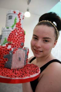 Courtney Potts with remembrance cake