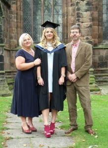 Imogen Johnson and family on her Reaseheath  graduation day in 2014