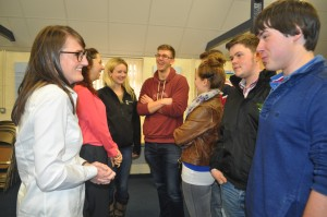 amie-Leigh Douglas and Emma Hancocks chat to agricultural students