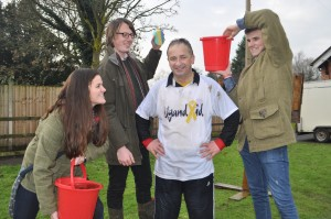 Preparing for another soaking mark Walton with students Sam Gibbons, Alex Hutson and Matt Dudley