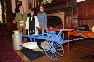 Reaseheath Principal Meredydd David, Rev Anne Lawson and Georgina Lamb celebrate Plough Sunday