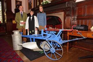 Reaseheath Principal Meredydd David, Rev Anne Lawson and Georgina Lamb celebrate Plough Sunday