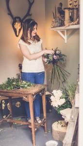 Anna Eite prepares floral bouquets