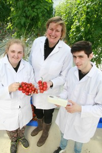 MP Antoinette Sandbach joins Latisha Woolley and Simon Daynes in Reaseheath's high tech glasshouses.