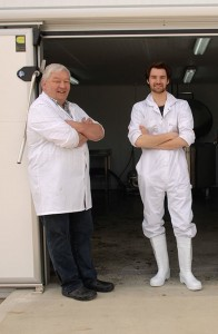 Dairy engineer Thorarinn Sveinsson with Sam Moorhouse