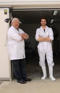 Dairy engineer Thorarinn Sveinsson with Sam Moorhouse