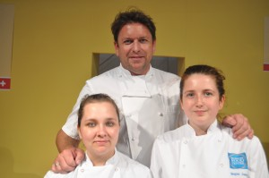 celebrity chef James Martin with Lorraine Murray-Lunt and Megan Jones