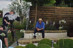 Monty Don reporting from Nathan Webster's show garden