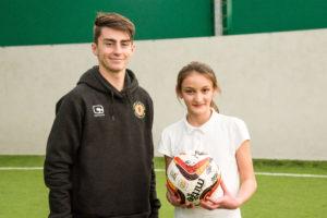 Crewe Alex apprentice Owen Dale with top player Esme Brayford